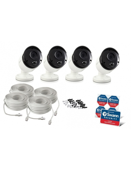 Swann 8MP SWNHD-885MSB 4K IP 4-PACK White Bullet Camera Audio NHD-885MSBx4