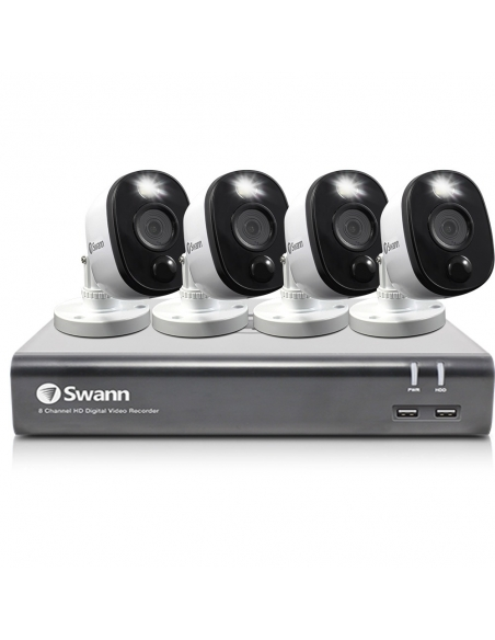 Swann 8 Channel 1080p Full DVR-4580 with 1TB HDD & 4 x 1080p Heat & Motion Sensing Warning Light Security Cameras PRO-1080MSFB