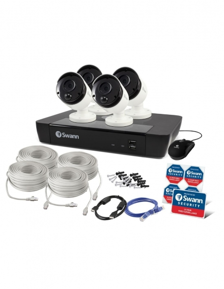 Swann 8 Channel 4K Ultra HD NVR-8580 with 2TB HDD & 4 x 4K Heat & Motion Detection IP Security Cameras Packaging