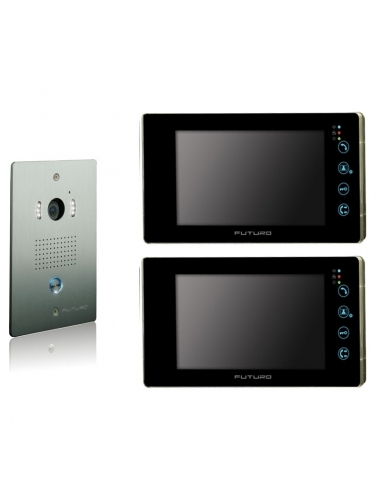 Futuro Video Intercom Kit with 2 x Black Recording Screens and Flush Mount CP4 Camera - FUT-112B-KIT-2XS-REC