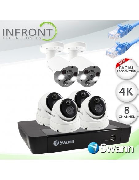 Swann 8 Channel 4K Ultra HD NVR-8580 with 2TB HDD & 6 x 4K Heat & Motion Detection IP Security Cameras