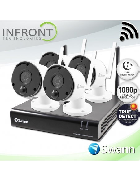 Swann 4 Camera 4 Channel 1080p Wi-Fi NVR 1TB HDD Heat & Motion Sensing Security System
