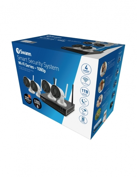 Swann 4 Camera 4 Channel 1080p Wi-Fi NVR 1TB HDD Heat & Motion Sensing Security System packing