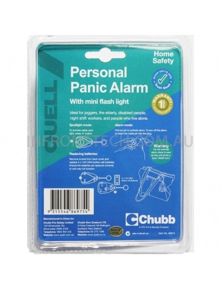 Quell Personal Panic Alarm Packaging Rear