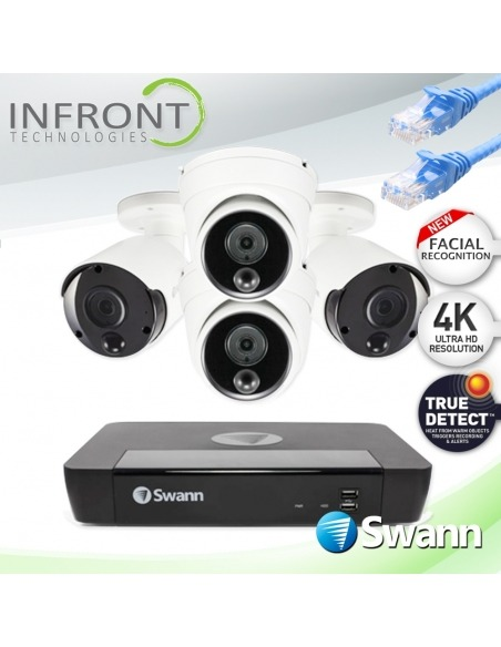 Swann 8 Channel 4K Ultra HD NVR-8580 with 2TB HDD & 4 x 4K Heat & Motion Detection IP Security Cameras