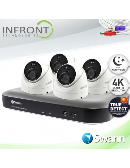 Swann 4 Channel 4K Ultra HD DVR-5580 with 1TB HDD & 4 x 4K Heat & Motion Detection Security Cameras PRO-4KDOME