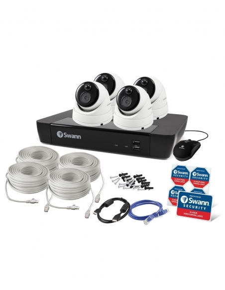 Swann 8 Channel 4K Ultra HD NVR NVR-8580 with 2TB HDD & 4 x 4K Heat & Motion Sensing IP Security Cameras Packaging
