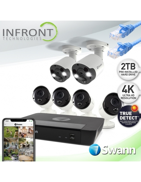 Swann 8 Channel 4K Ultra HD NVR-8580 with 2TB HDD & 4x 4K Bullet & 2x 4K Spotlight Cameras