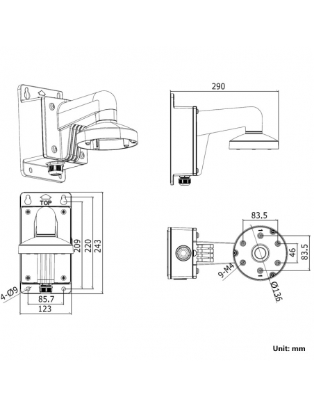 HIKVision DS-1273ZJ-135B Wall Mount Bracket for 27XX