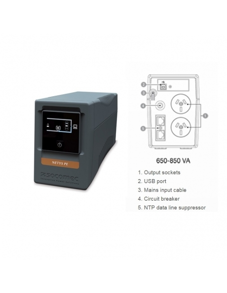 Socomec NeTYS PE 850VA UPS Battery Backup