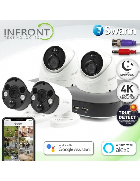 Swann 4 Channel 4K Ultra HD DVR-5580 with 1TB HDD & 4 x 4K Heat & Motion Detection Security Cameras