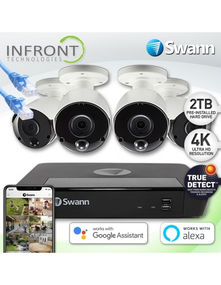 Swann 8 Channel 4K Ultra HD NVR-8580 with 2TB HDD & 4 x 4K Heat & Motion Detection IP Security Cameras NHD-887MSB