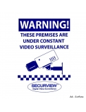 A4 sized (300 x 210mm) weatherproof UV resistant corflute CCTV warning sign for placement in prominent position to deter would-b