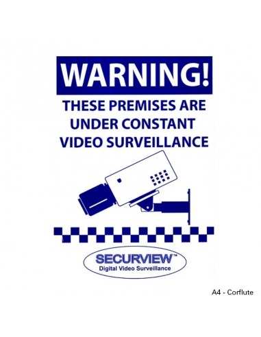 Security Sign Warning Sign - A4 Size Blue Print Corflute