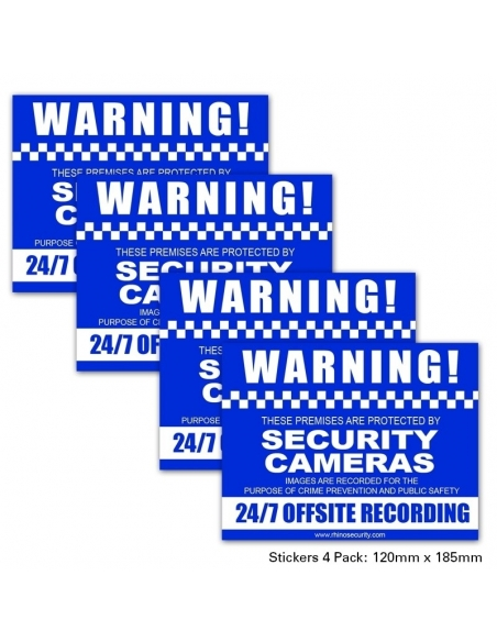 CCTV Warning Sign Stickers 4 Pack (2 x Rear & 2 x Front)