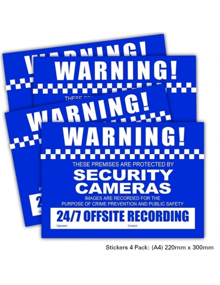 CCTV Warning Stickers 4 Pack A4 Size 220 x 300mm