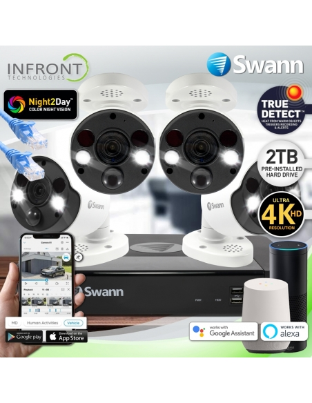 Swann 4 Camera 8 Channel 4K Ultra HD 2 Way-Audio NVR Security System with 2TB HDD