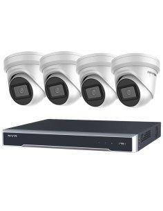 Hikvision 4CH NVR 3TB 4x PoE 8MP/4K 2.8MM Dome Cameras CCTV Kit - HIKIT8-43T-4D28