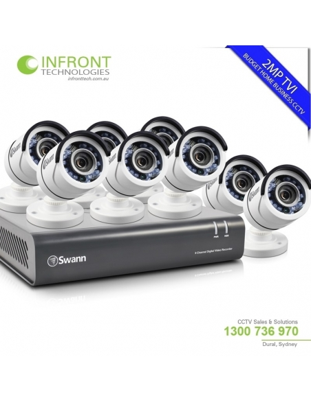 Swann SWDVK-845508 8CH TVI 1080P DVR with 2TB HDD and 8x T853 Bullet Cameras