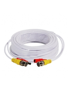 20 Metre White BNC & Power Cable for Analogue CCTV TVI AHD CVI D1 960H