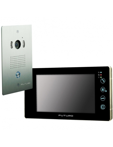 Futuro Video Intercom Kit with Black Finish Includes Flush Mount CP4 Camera Unit - FUT-102B-KIT