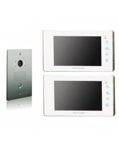 Futuro Video Intercom Kit with 2 x White Recording Screens and Flush Mount CP4 Camera - FUT-111W-KIT-2XS-REC