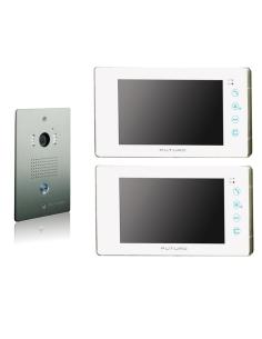 futuro video intercom kit with 2 x white recording screens and flush mount cp4 camera fut 111w kit 2xs rec swann swhom dp880c doorphone video intercom 7\
