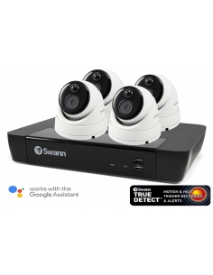 Swann NVR8-7580 4K Capable / 2TB / 4 x NHD-866MSD 5MP True Detect White Dome Cameras w Audio
