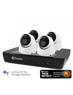 Swann 8 Channel Security System: 4K Ultra HD NVR-8580 with 2TB HDD & 4 x 4K Thermal Sensing Dome Cameras NHD-886MSD