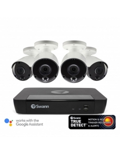 NVR8-8580 4K Capable / 2TB / 4 x NHD-885MSB 4K True Detect White Bullet Cameras w Audio