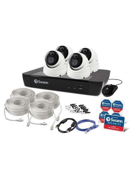 Swann NVR8-7580 4K Capable / 2TB / 4 x NHD-866MSD 5MP True Detect White Dome Cameras w Audio Packaging