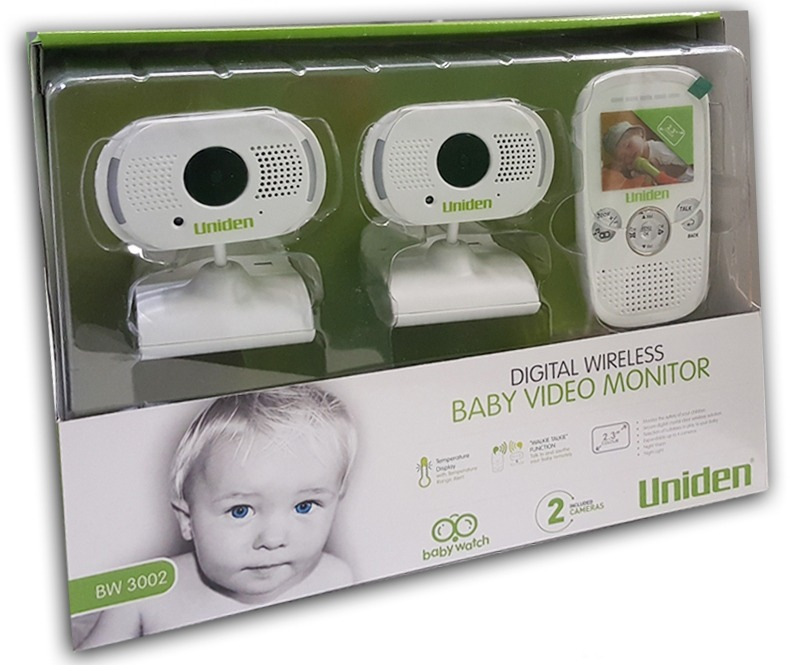 uniden 2 3 inch digital wireless baby video monitor with 2 cameras. Black Bedroom Furniture Sets. Home Design Ideas